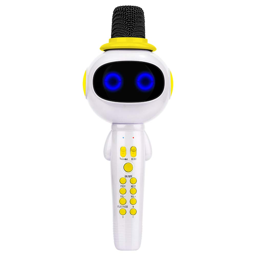 BONAOK Kids Wireless Bluetooth Karaoke Microphone with Magic Sound & Colorful LED light, 5 in 1 Portable Handheld Party Karaoke Speaker Machine Thanksgiving Gift for Android/iPhone/iPad/PC (Yellow) BKBT024AR