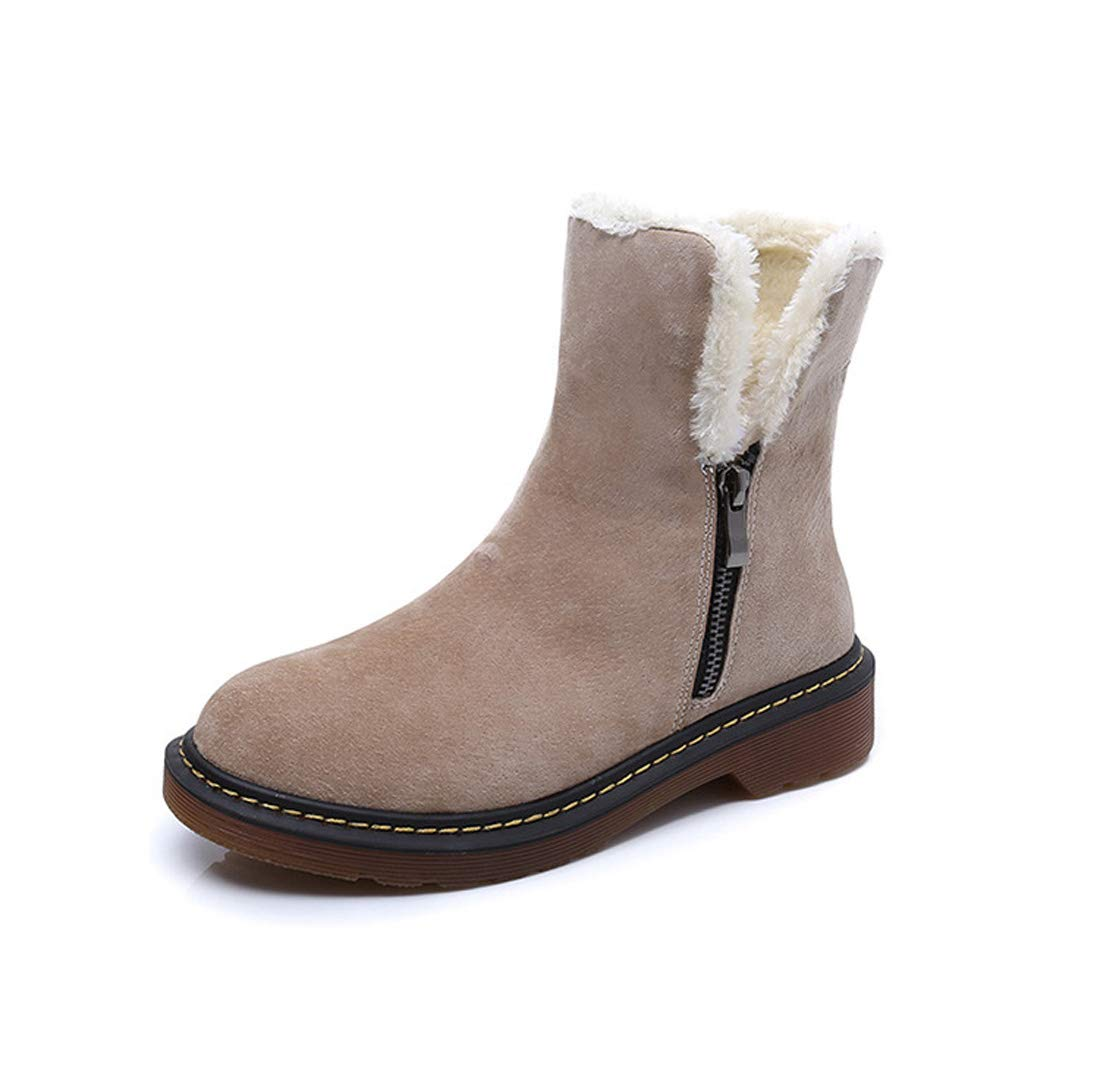 Khaki DANDANJIE Femmes Chaussures 2018 Hiver Bottes De Neige Talon Plat Bottillons Bottines pour Casual 37EU
