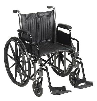 "20"" Wheelchair, Steel Frame, Black, Detachable Desk Arm, Swing Away Foot Rest, 350 Lb. Capacity"