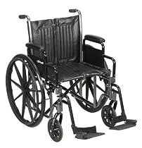 20 Wheelchair, Steel Frame, Black, Detachable Desk Arm, Swing Away Foot Rest, 350 Lb. Capacity
