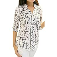Womens Girls T-shirt Elegant Cuffed Long Sleeve Print Chiffon Slim Lapel Blouses