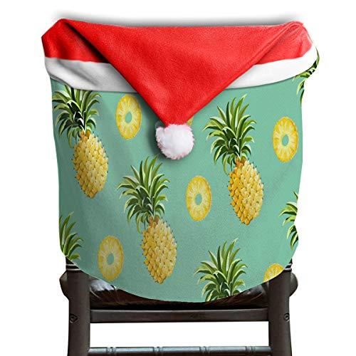 LoveBea Christmas Hat Chair Covers Pineapple and Pineapple Slices Chairs Back Cover Slipcovers Kitchen Sets for Festive Decorations