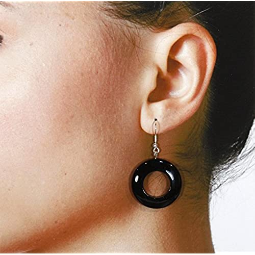 """""""Onyx with an O"""" Black Onyx (Dyed) Earrings, Dangle 1.75 Inches"""