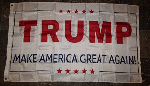 Cheap 3×5 Donald Trump Make America Great Again White Double Sided 2ply Flag 3'x5′
