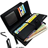 Wallet-NEWANIMA Women Multi-card Two Fold Long Zipper Clutch Purse (Style3-Black)