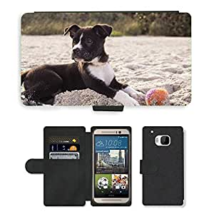 Hot Style Cell Phone Card Slot PU Leather Wallet Case // M00109341 Dog Puppy Playing Ball Sand Beach // HTC One M9