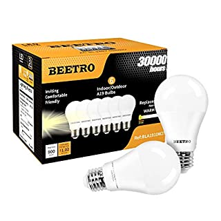 BEETRO Lighting A19 LED Bulbs, E26 Base, 70w Equivalent, 900 Lumens, Warm White 2700k Pack of 6pcs
