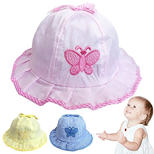 Hat Butterfly Bucket - AStorePlus Kids Embroidered Butterfly Summer Brim Visor Cotton Bucket Sun Protection Hats Cap for Toddlers Baby Girls, Pink