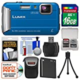 Panasonic Lumix DMC-TS30 Tough Shock & Waterproof Digital Camera (Blue) with 16GB Card + Case + Battery + Flex Tripod + Kit