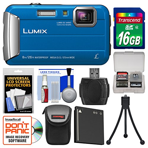 Panasonic Lumix DMC-TS30 Tough Shock & Waterproof Digital Camera (Blue) with 16GB Card + Case + Battery + Flex Tripod + Kit by Panasonic