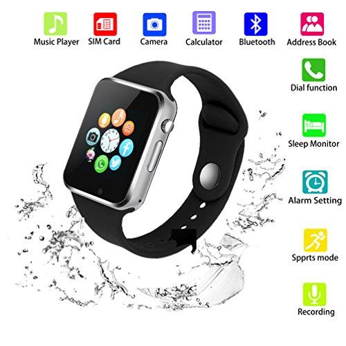 SUNETLINK Smart Watch Phone, Touch Screen Bluetooth Unlocked Watch Cell Phone with Camera,SIM Card Slot/Pedometer Analysis/Sleep Monitoring Men Women Kids Boys (G10D black) by SUNETLINK