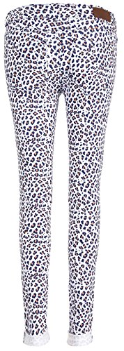 Super Trash Mujer Paradise Slim Leopard Jeans White Blue