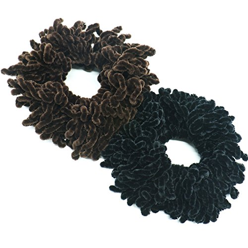 Buorsa 2Pack Volumising Scrunchie Big Hair Tie Ring Hijab Volumizer Khaleeji Headwear,Dark Coffer & Black (Hair Hijab Accessories)