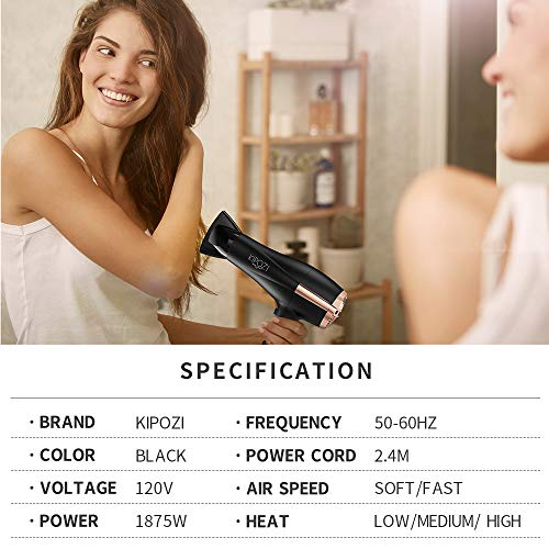 KIPOZI Pro 1875W Negative Ions Hair Dryer Ceramic Fast Dry Lightweight Hair Blow Dryer with 2 Speed and 3 Heat Settings,Diffuser Concentrator, Cool shot button, Low Noise(Black)