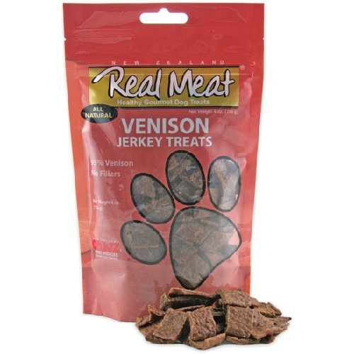 Real Meat Venison Jerky Dog Treats 12oz (2 Pack) by Real Meat