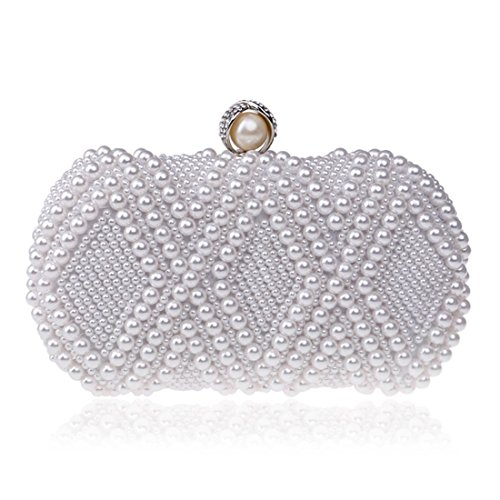 American banquet Bag white Fly bag ladies evening bag Creamy bag Dinner dress Color Pearl fashion European White and evening AxT8XTW