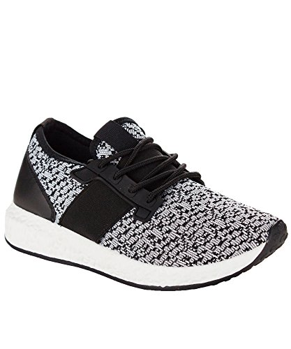 RF ROOM OF FASHION Women's Lace Up Stretch Flyknit Fashion Sneakers - Lightweight Sporty Casual Flats - Low Top Walking Shoes (Black Knit Size 8)