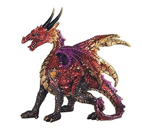StealStreet 71702 4.75 Inch Red and Gold Colored Medieval Themed Dragon, Statue Figurine