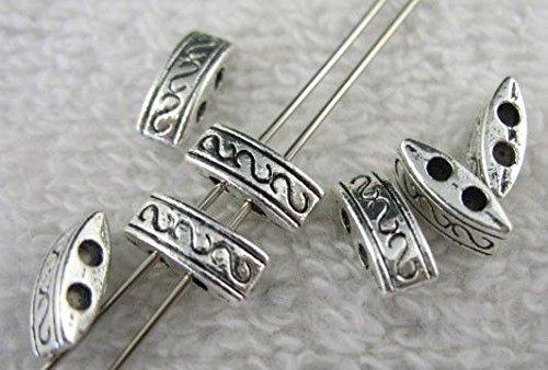 (FidgetFidget 150pcs Tibetan Silver 2 Holes Spacer Beads FC8042)