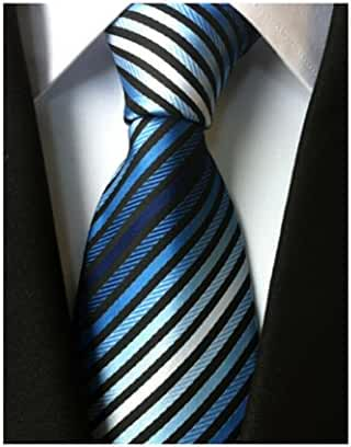 MINDENG Tie Two Tone Necktie Navy Knot Royal Blue/White Stripes Tie Men Neck Tie