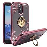 LG Stylo 3 Case , LG Stylo 3 Plus LS777 Case , BestAlice Slim Soft Gel Clear Bling Case Rose Gold Metal Plating Bumper Cover , Heart Ring Stand