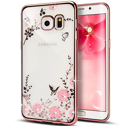 Price comparison product image [Secret Garden] HAOTP Beauty Luxury Butterfly Floral Flower Diamonds Shiny Plating Frame Plating Bumper Soft Flexible TPU Transparent Skin Case for Samsung Galaxy NOTE 5--Swarovski (Rose Gold/Pink)