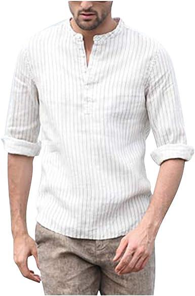 CAOQAO Camisa Hombre Manga Corta Blusa de Manga Corta de Tres Cuartos de Lino Vintage sólido Retro: Amazon.es: Ropa y accesorios