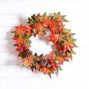 Puerta corona victorcn pino fruta hoja de arce caída adorno de pared día de Acción de Gracias