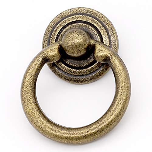 ZHANGJIAHE 10 Pack Front Mount Ring Drawer Pull Ring Antique Brass Ring Drawer pulls Drawer Pulls Ring Handle 1.5 Inch Weight 23g