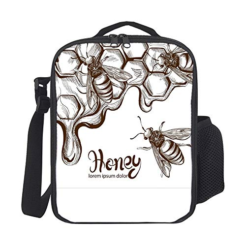 SARA NELL Kids Lunch Backpack Insulated Honey Bees Combs Retro Vintage Lunch Bag Large Lunch Boxes Cooler Meal Prep Lunch Tote With Shoulder Strap For Boys Girls Teens Women Adults