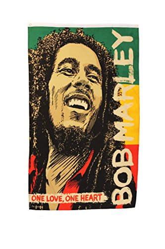 ONE LOVE , ONE HEART Bob Marley 3' x 5' Feet Picture Banner Flag .. .. New - Bob Marley Flags
