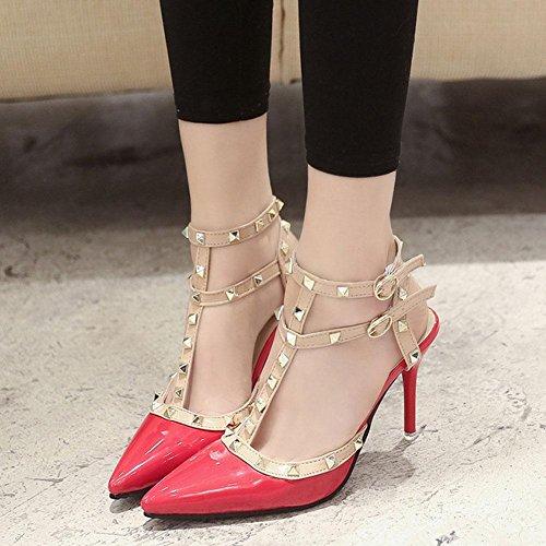 Rivet zeigte hochhackige Schuhe fein mit sexy hochhackigen Sandalen mit T-Riemen Schuhe Flut Schuhe Orange Red