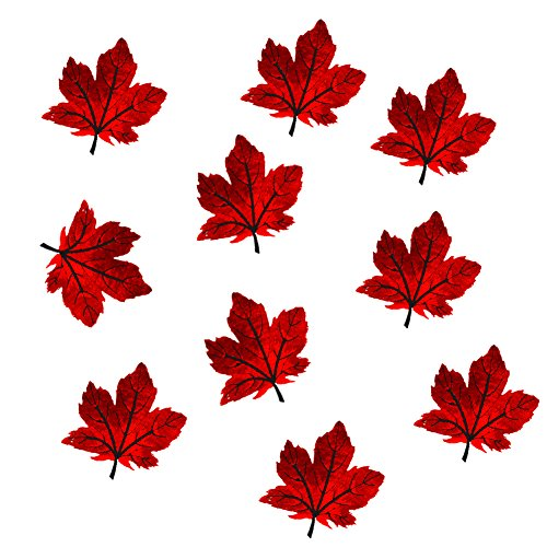 (12 Pack Assorted Colorful Maple Leaves Patches Iron on Patches Embroidered Applique Motif (Red))