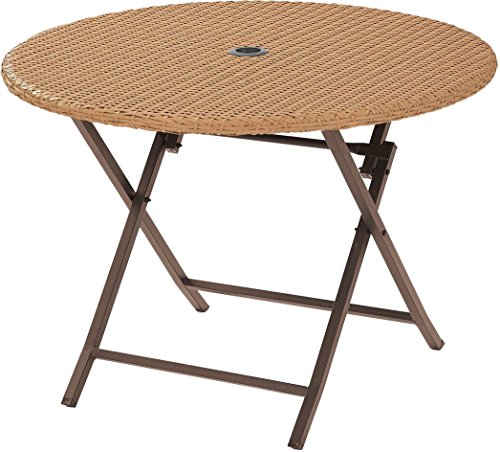 Crosley Furniture CO7205-LB Palm Harbor Outdoor Wicker Folding Table – Light Brown