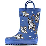 LONECONE Rain Boots with Easy-On Handles in Fun Patterns for Toddlers and Kids, Puddle Shuttle, Little Kid 13