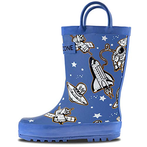 LONECONE Rain Boots with Easy-On Handles in Fun Patterns for Toddlers and Kids, Puddle Shuttle, 11 Little - Ship 11 Shoes Free
