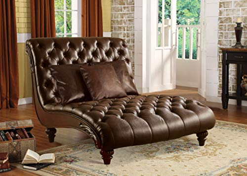 Acme Anondale Chaise with 3 Pillows in Brown