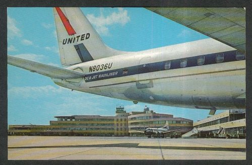 United Airlines DC-8 Jet Mainliner N8036U Pittsburgh Airport PA postcard - Airlines Dc United