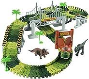 Lydaz Race Track Dinosaur World Bridge Create A Road 142 Piece Toy Car & Flexible Track Playset Toy Cars,