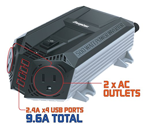 ENERGIZER 500 Watt Power Inverter 12V DC to AC + 4 x 2.4A USB Charging Ports Total 9.6A by Energizer (Image #3)