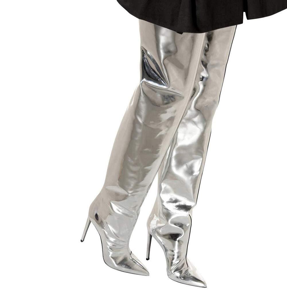 Hy Damenschuhe, Heel Mikrofaser Herbst Winter Mode Stiefel wies Stiletto Heel Damenschuhe, Lange Stiefel Damen große Größe hohe Stiefel, Oberschenkel hohe Stiefel Abendschuhe Party & Abend a96563