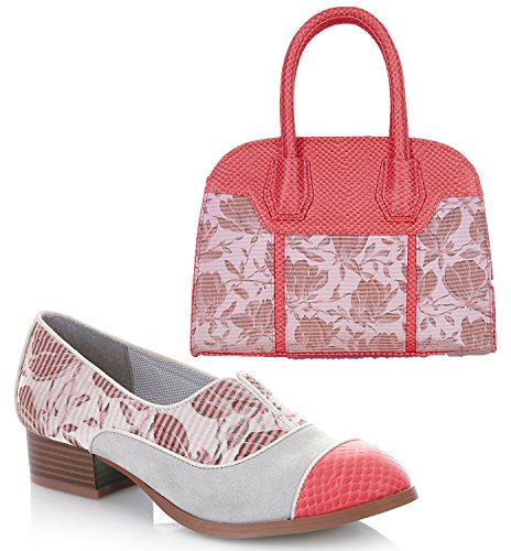Ruby Shoo Women's Brooke Low Heel Loafers & Cancun Bag Coral OwENnoqG