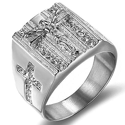 Jude Jewelers Stainless Steel Christian Jesus Cross Ring (Silver, 11)
