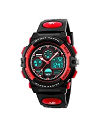 Kids Sport Outdoor Digital Unusual Analog Quartz Dual Time Zone Waterproof Watch with Chronograph Alarm Calendar Date Window for Boys Girls Children (red)