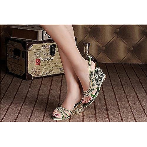 0775f294 Zapatos de Mujer de Microfibra Primavera Verano Nuevas Sandalias de  Diamantes de Imitación de Tacón Alto