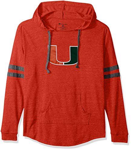 Ouray Sportswear NCAA Miami Hurricanes Women's Hooded Low Key Pullover Top, Small, Vintage Orange/Vintage -