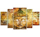 Buddha Wall Art Zen Canvas Prints Large Pure Hand Painted Framed Buddhist Meditation Art Oil Paintings Printed on Canvas 5 panel Home Decor For Living Room Stretched Ready to Hang Total Size 55'' x 32''