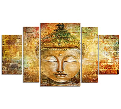 Buddha Wall Art Zen Canvas Prints Large Pure Hand Painted Framed Buddhist Meditation Art Oil Paintings Printed on Canvas 5 panel Home Decor For Living Room Stretched Ready to Hang Total Size 55