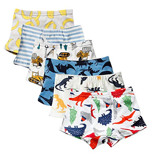 Closecret Kids Series Soft Cotton Toddler Underwear Little Boys' Assorted Boxer Briefs(Pack of 6) (Style 3, 2-3 Years) by Closecret