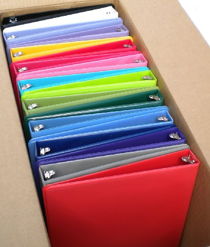Samsill Assorted Colors 3-Ring View-Binders, 1-Inch Capacity, 8.5'' x 11'', with Insertion Sleeves and Inside Pockets, BOX OF 18 by Samsill (Image #1)'